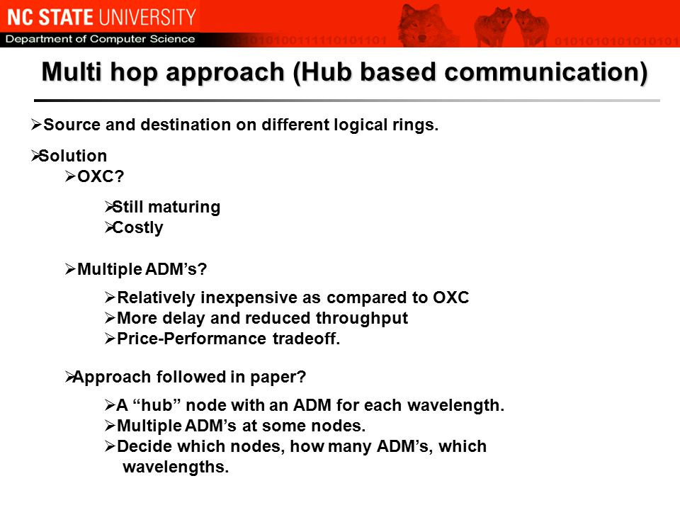 Multi hop approach (Hub based communication)  Source and destination on different logical rings.