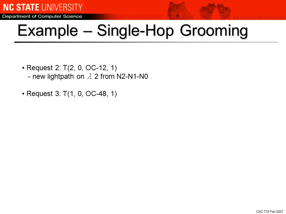 CSC 778 Fall 2007 Example: single-hop grooming