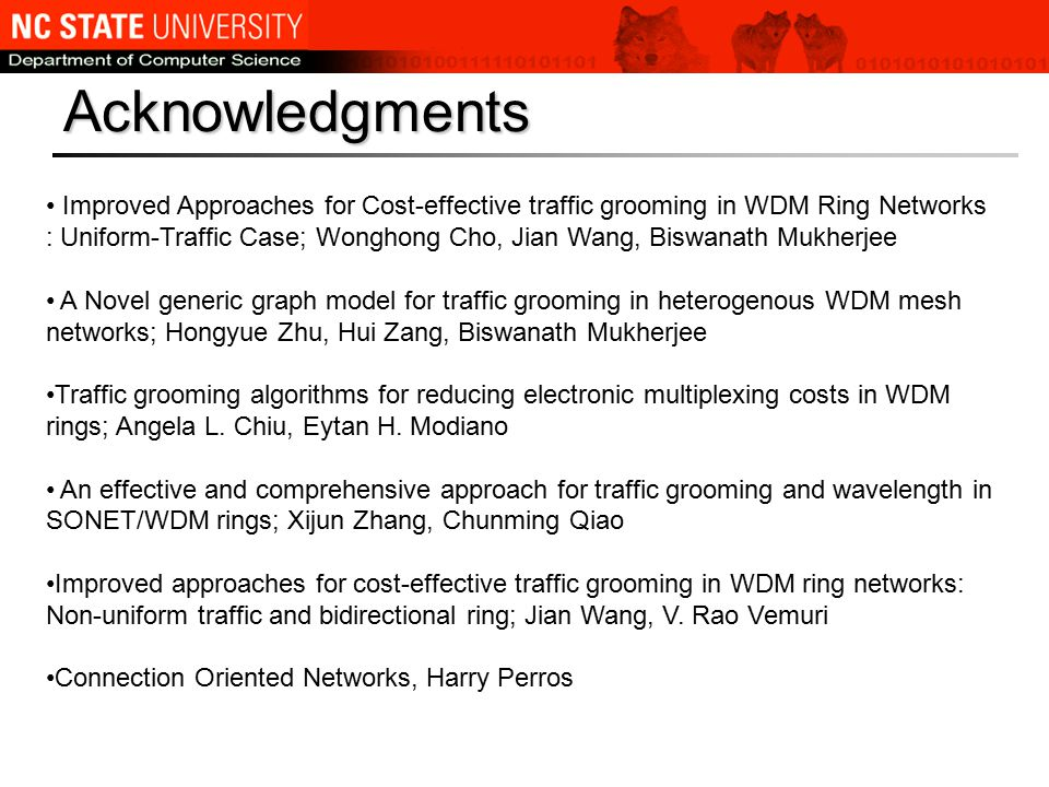 Acknowledgments Improved Approaches for Cost-effective traffic grooming in WDM Ring Networks : Uniform-Traffic Case; Wonghong Cho, Jian Wang, Biswanath Mukherjee A Novel generic graph model for traffic grooming in heterogenous WDM mesh networks; Hongyue Zhu, Hui Zang, Biswanath Mukherjee Traffic grooming algorithms for reducing electronic multiplexing costs in WDM rings; Angela L.