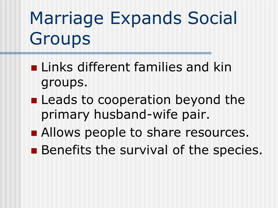 Marriage Expands Social Groups Links different families and kin groups. Leads to cooperation beyond the primary husband-wife pair. Allows people to sh