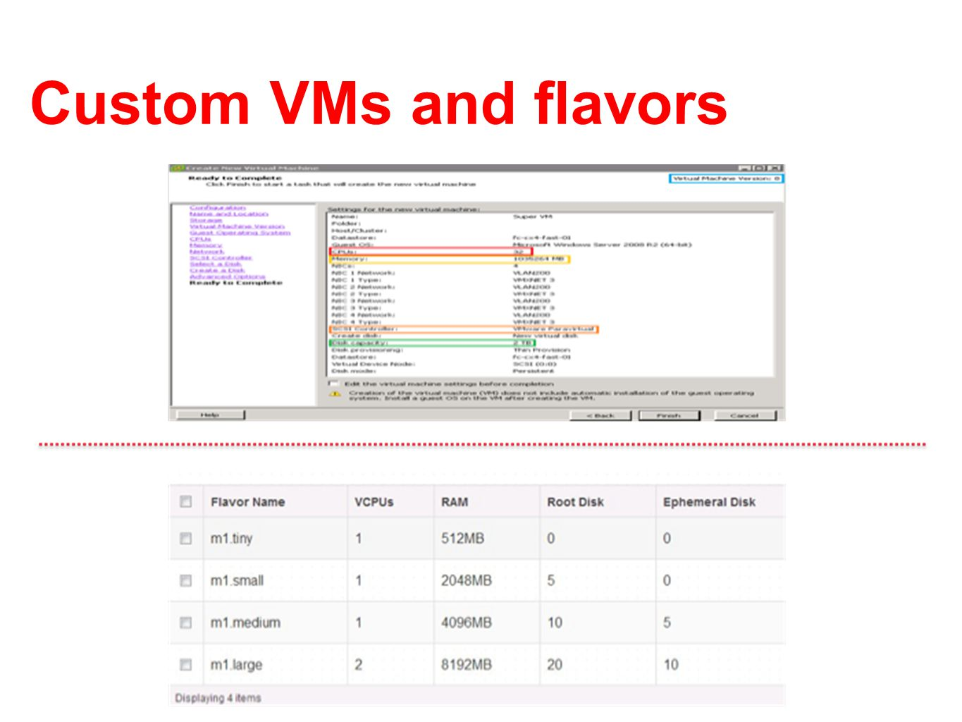 Custom VMs and flavors