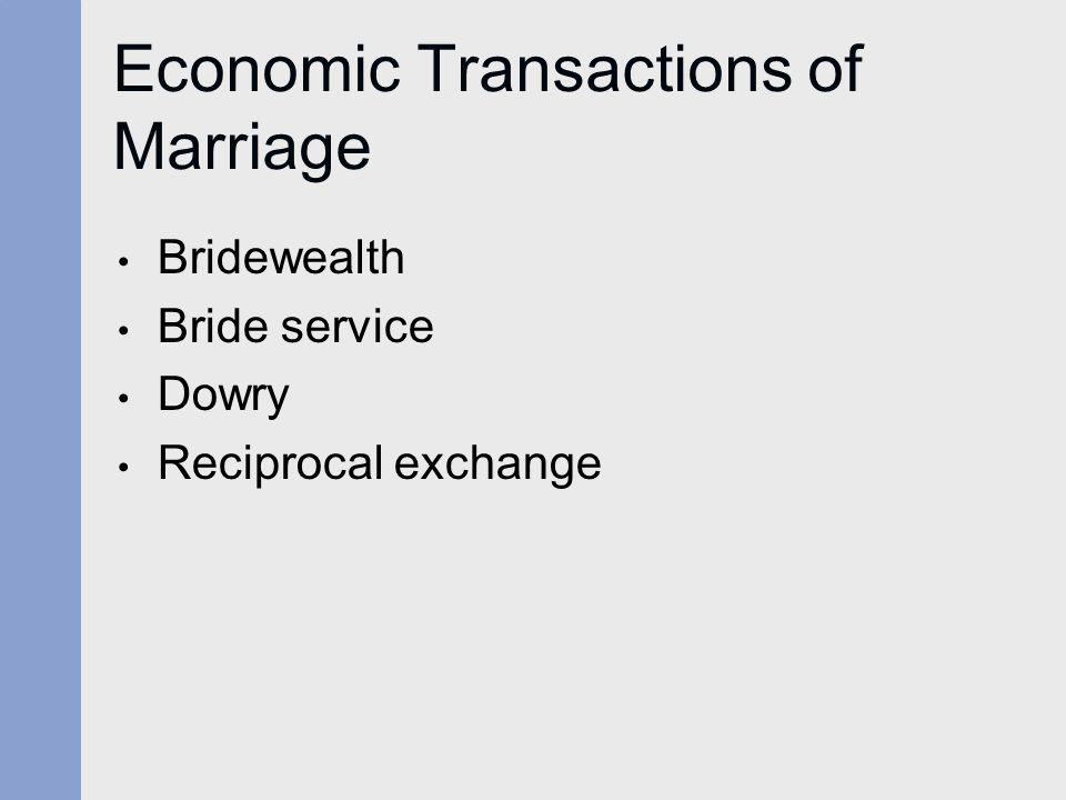 Economic Transactions of Marriage Bridewealth Bride service Dowry Reciprocal exchange