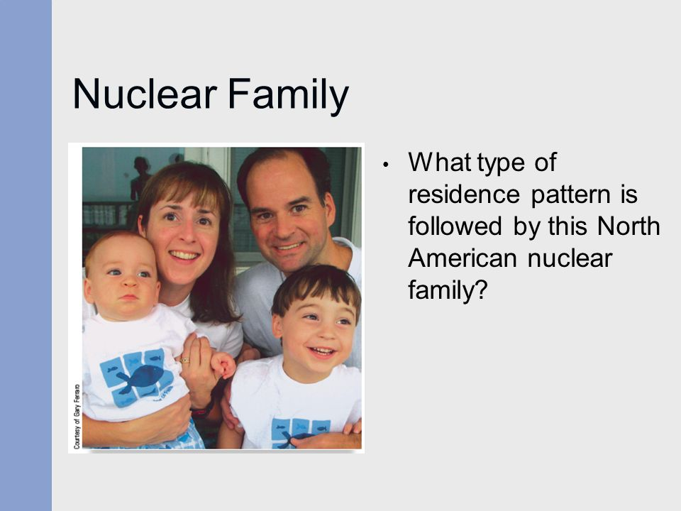 Nuclear Family What type of residence pattern is followed by this North American nuclear family?