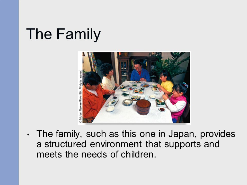 The Family The family, such as this one in Japan, provides a structured environment that supports and meets the needs of children.