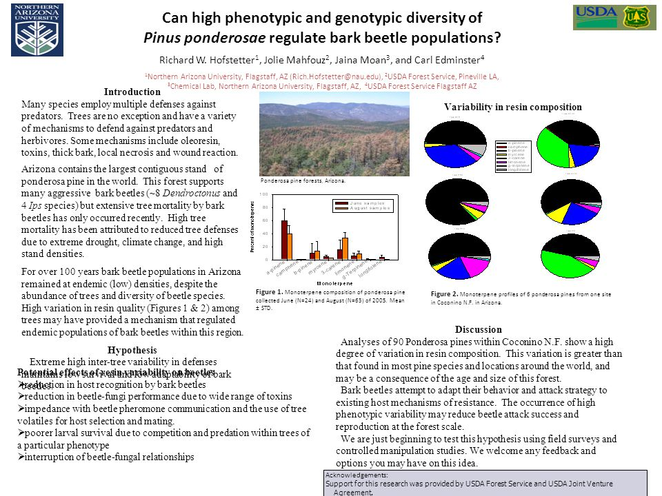 Can high phenotypic and genotypic diversity of Pinus ponderosae regulate bark beetle populations? Richard W. Hofstetter 1, Jolie Mahfouz 2, Jaina Moan