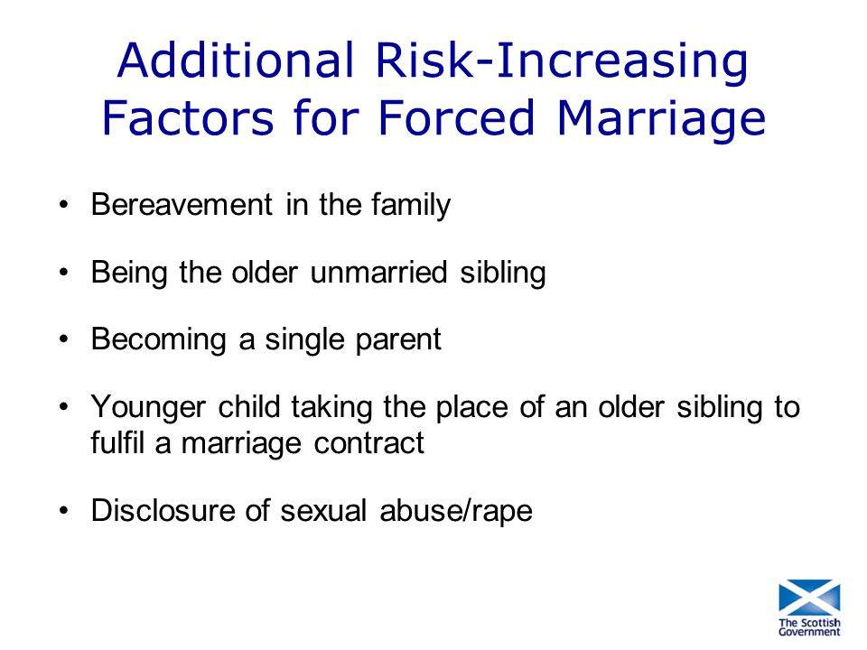 Additional Risk-Increasing Factors for Forced Marriage Bereavement in the family Being the older unmarried sibling Becoming a single parent Younger ch