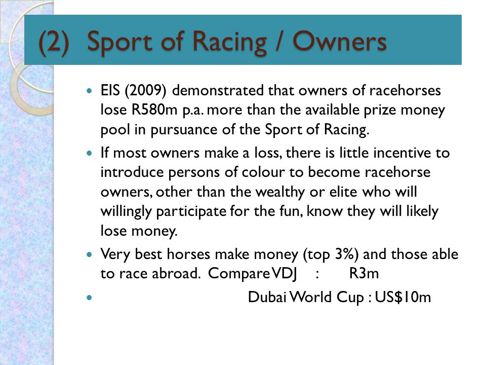 (2) Sport of Racing / Owners (2) Sport of Racing / Owners EIS (2009) demonstrated that owners of racehorses lose R580m p.a.