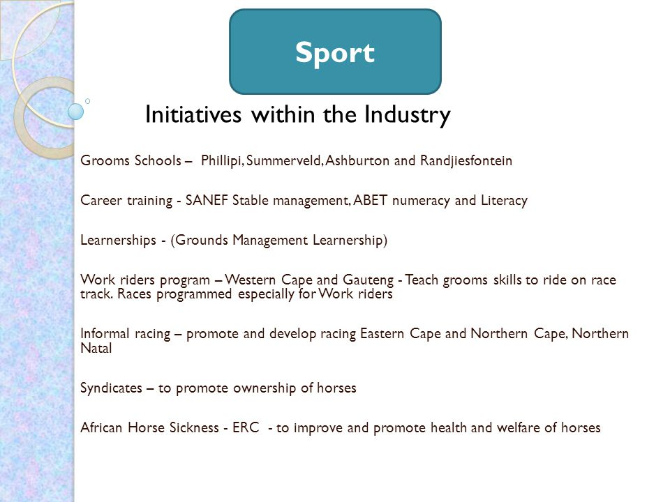 Initiatives within the Industry Grooms Schools – Phillipi, Summerveld, Ashburton and Randjiesfontein Career training - SANEF Stable management, ABET numeracy and Literacy Learnerships - (Grounds Management Learnership) Work riders program – Western Cape and Gauteng - Teach grooms skills to ride on race track.