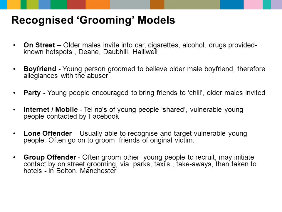 Recognised 'Grooming' Models On Street – Older males invite into car, cigarettes, alcohol, drugs provided- known hotspots, Deane, Daubhill, Halliwell