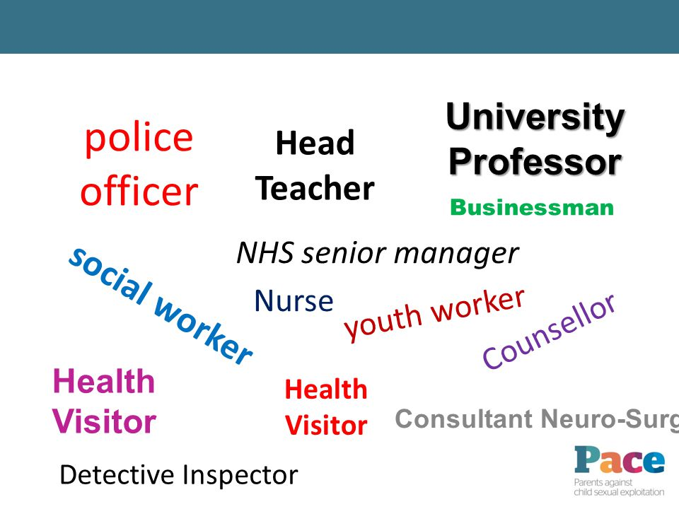 police officer Health Visitor NHS senior manager Nurse UniversityProfessor Businessman Counsellor social worker Detective Inspector youth worker Head