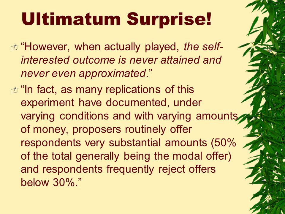 Ultimatum Surprise.