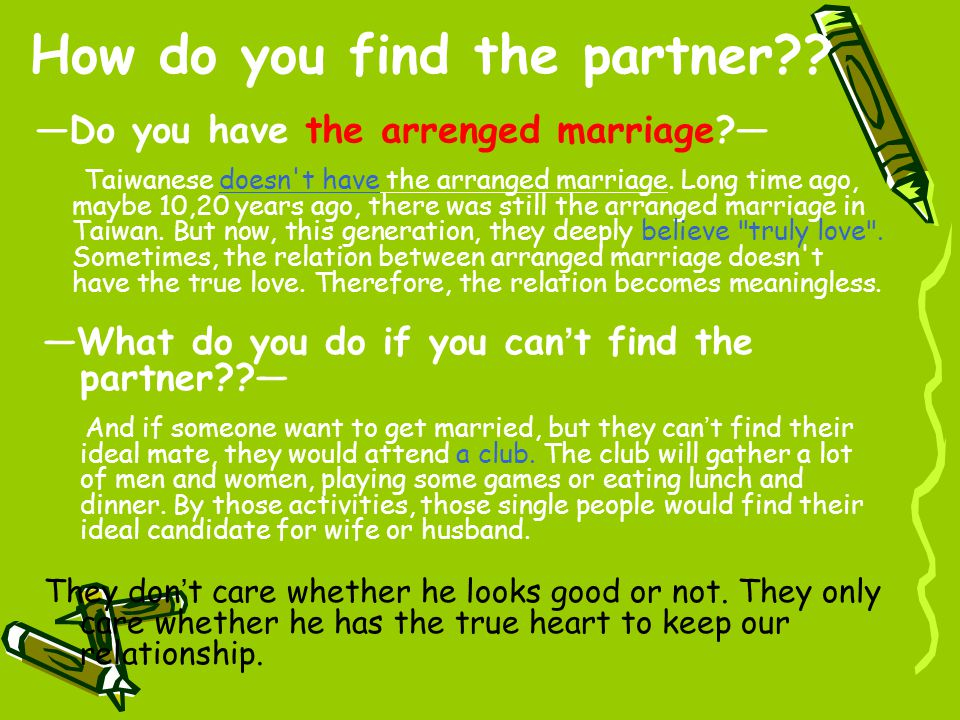 How do you find the partner .