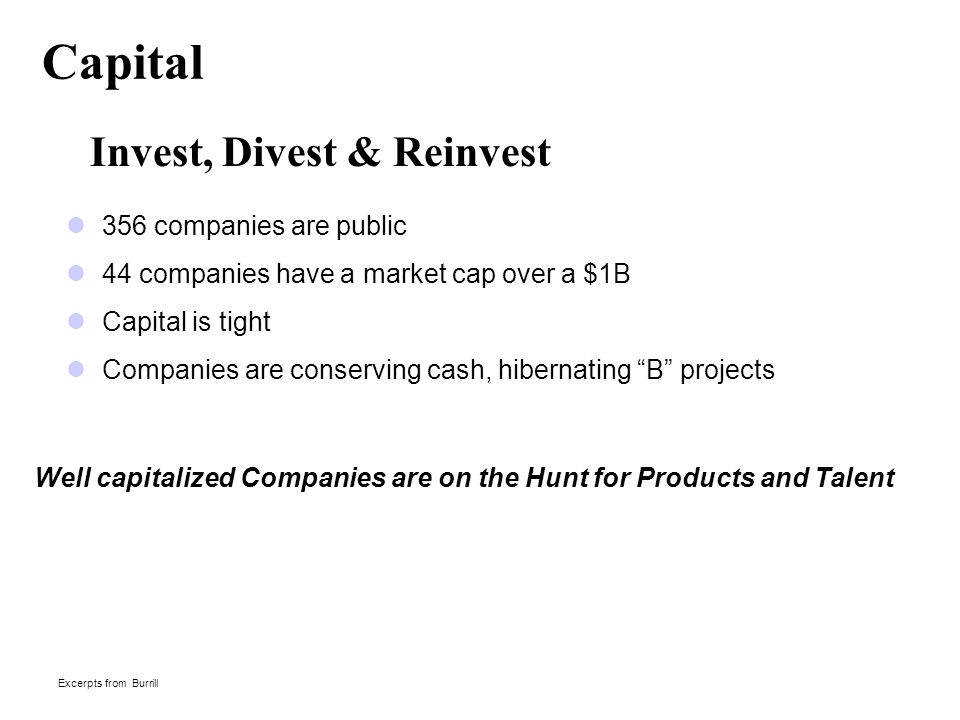 Capital Invest, Divest & Reinvest 356 companies are public 44 companies have a market cap over a $1B Capital is tight Companies are conserving cash, hibernating B projects Excerpts from Burrill Well capitalized Companies are on the Hunt for Products and Talent