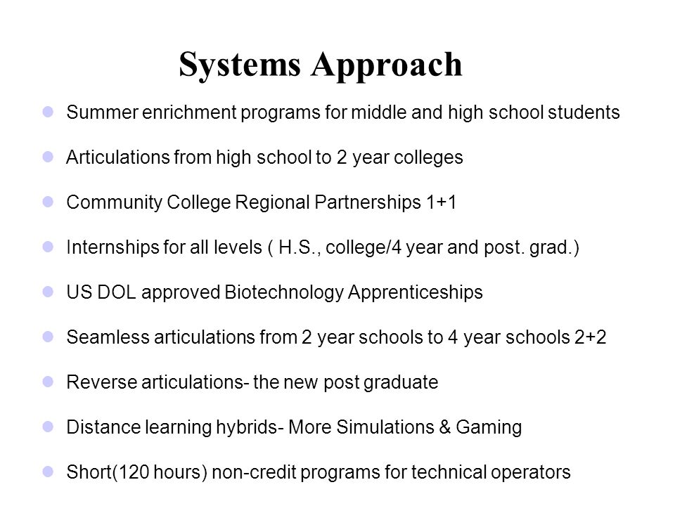 Systems Approach Summer enrichment programs for middle and high school students Articulations from high school to 2 year colleges Community College Regional Partnerships 1+1 Internships for all levels ( H.S., college/4 year and post.