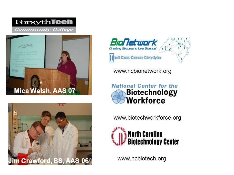 Mica Welsh, AAS 07 Jim Crawford, BS, AAS 06 www.biotechworkforce.org www.ncbionetwork.org www.ncbiotech.org