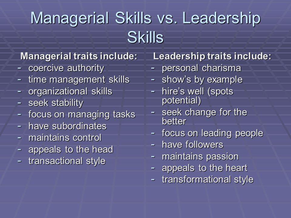 Managerial Skills vs.