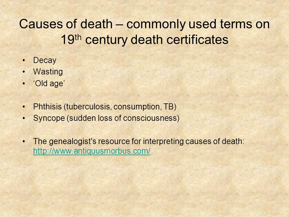 Decay Wasting 'Old age' Phthisis (tuberculosis, consumption, TB) Syncope (sudden loss of consciousness) The genealogist's resource for interpreting ca