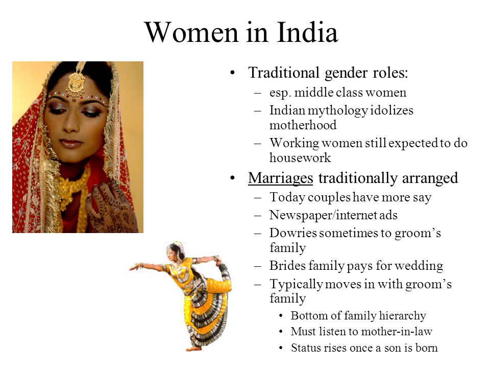 Women in India Traditional gender roles: –esp.