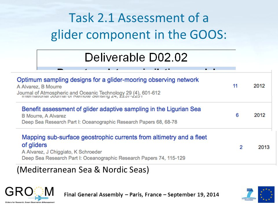 Task 2.1 Assessment of a glider component in the GOOS: The report summarizes three aspects of the synergy between numerical modelling and observational glider data: How can model solutions being evaluated by using glider observations (temperature, depth integrated flow) How can OSSEs being used to guide optimal glider platforms deployment Real world case studies of data assimilation (Mediterranean Sea & Nordic Seas) Final General Assembly – Paris, France – September 19, 2014