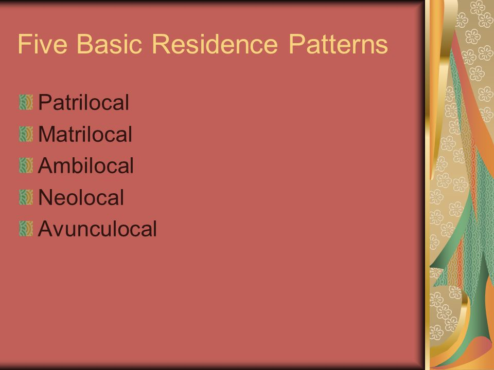 Five Basic Residence Patterns Patrilocal Matrilocal Ambilocal Neolocal Avunculocal