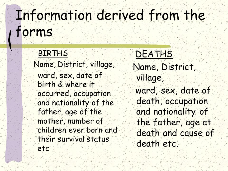 Information derived from the forms BIRTHS Name, District, village, ward, sex, date of birth & where it occurred, occupation and nationality of the father, age of the mother, number of children ever born and their survival status etc DEATHS Name, District, village, ward, sex, date of death, occupation and nationality of the father, age at death and cause of death etc.
