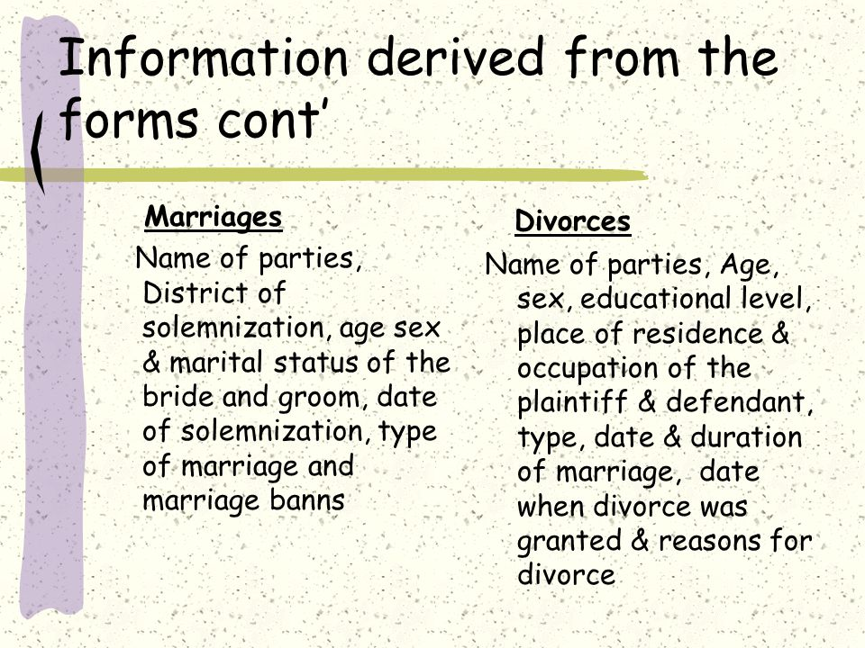 Information derived from the forms cont' Marriages Name of parties, District of solemnization, age sex & marital status of the bride and groom, date of solemnization, type of marriage and marriage banns Divorces Name of parties, Age, sex, educational level, place of residence & occupation of the plaintiff & defendant, type, date & duration of marriage, date when divorce was granted & reasons for divorce