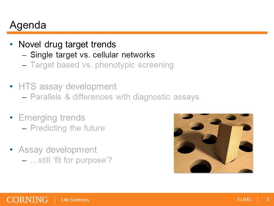 3ELRIG Life Sciences Agenda Novel drug target trends –Single target vs.