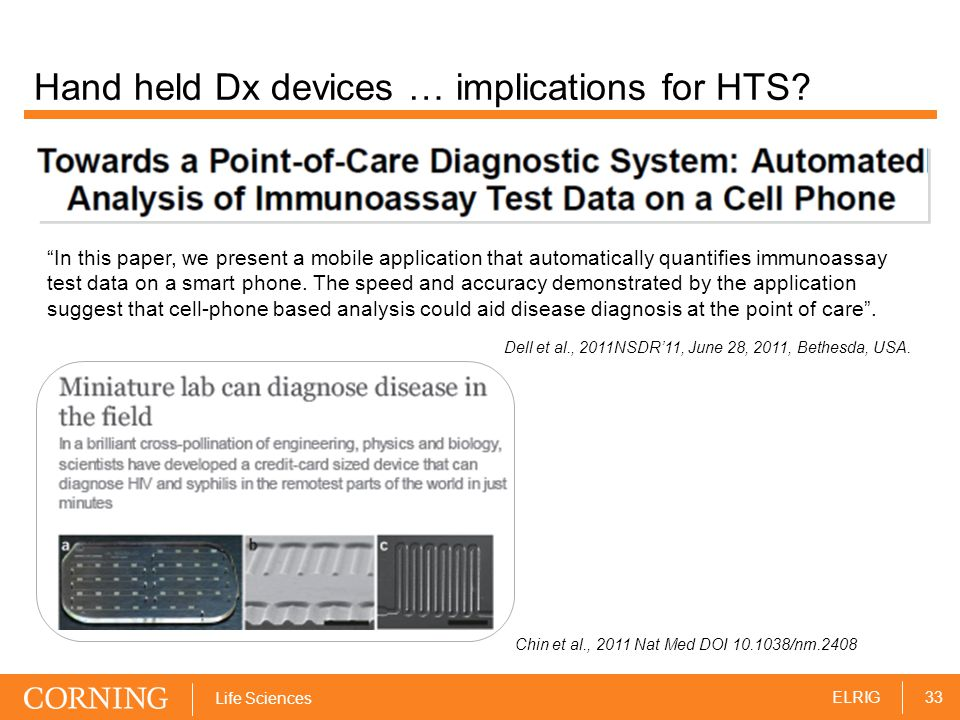 33ELRIG Life Sciences Hand held Dx devices … implications for HTS.