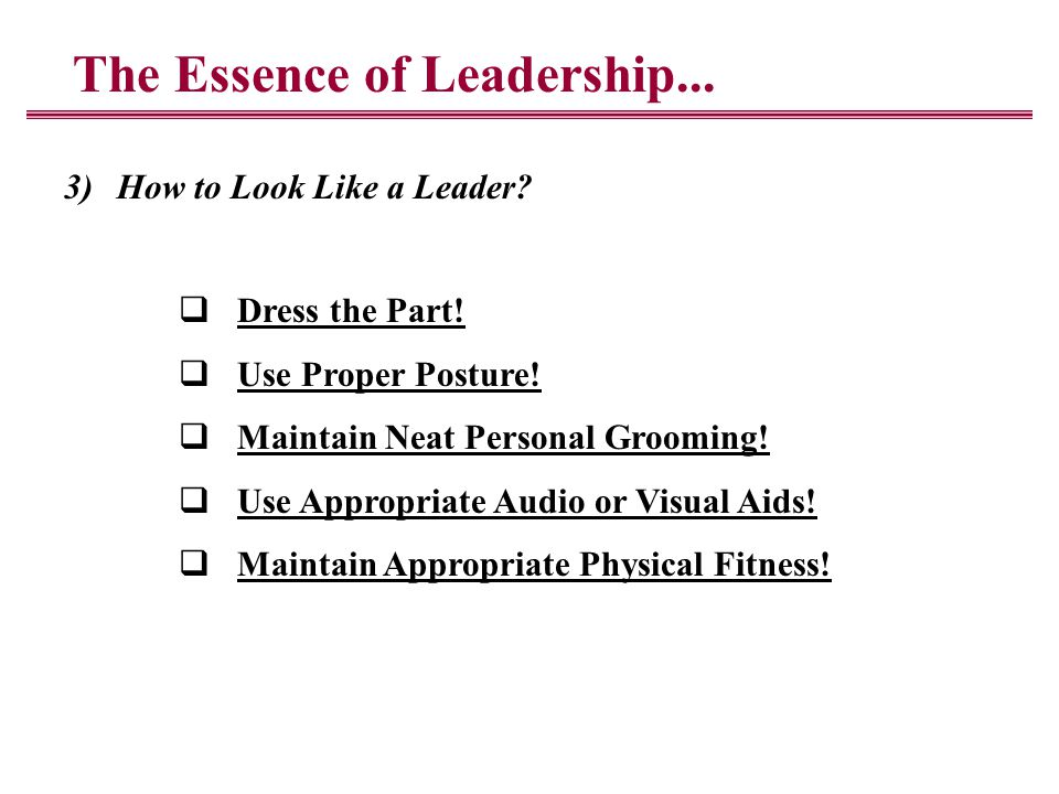 The Essence of Leadership... 3)How to Look Like a Leader.