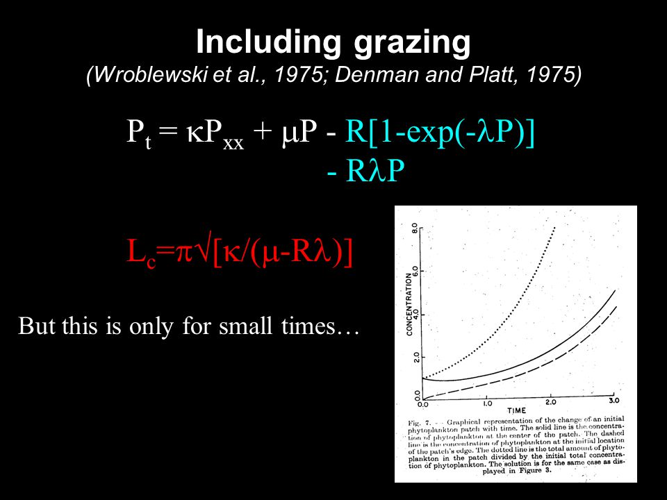 Including grazing (Wroblewski et al., 1975; Denman and Platt, 1975) P t =  P xx +  P - R[1-exp(- P)] - R P L c =  [  /(  -R )] But this is only