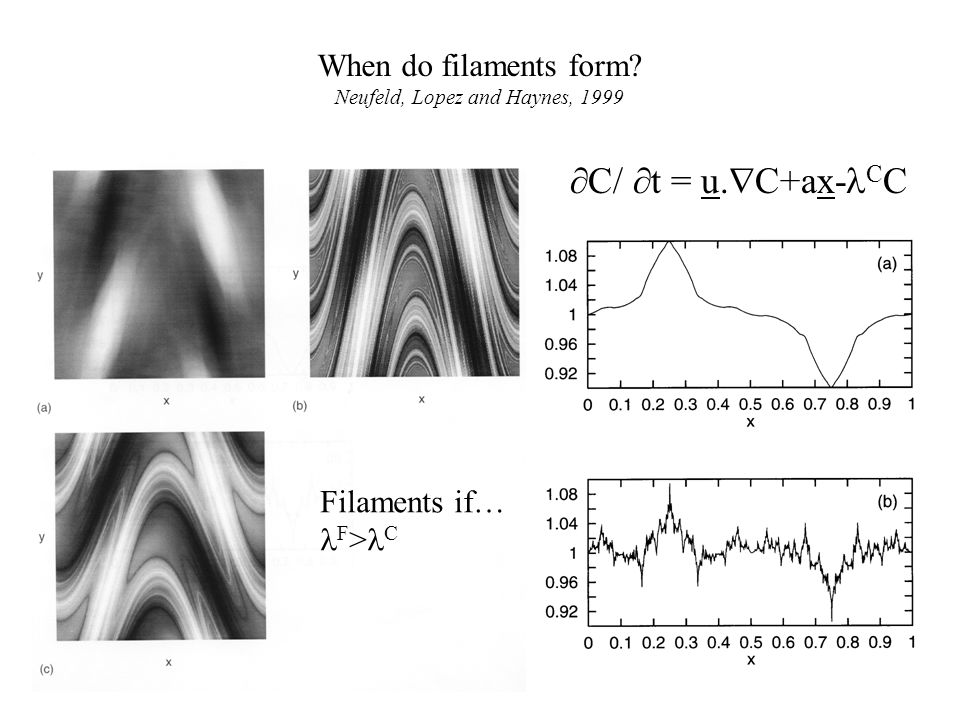 When do filaments form? Neufeld, Lopez and Haynes, 1999 Filaments if… F > C  C/  t = u.  C+ax- C C