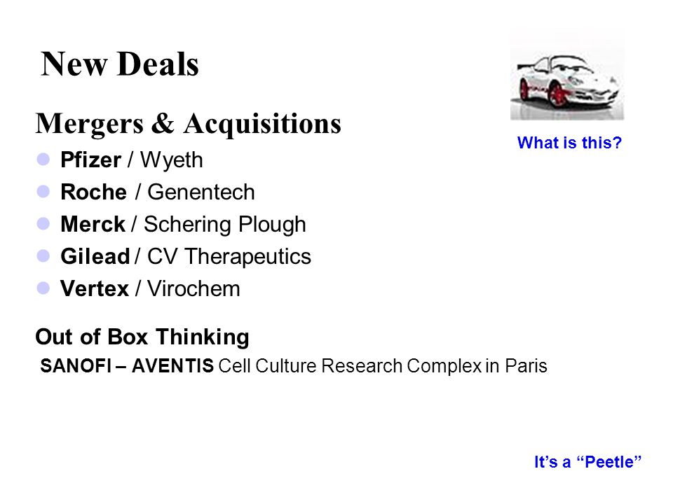 New Deals Mergers & Acquisitions Pfizer / Wyeth Roche / Genentech Merck / Schering Plough Gilead / CV Therapeutics Vertex / Virochem Out of Box Thinki