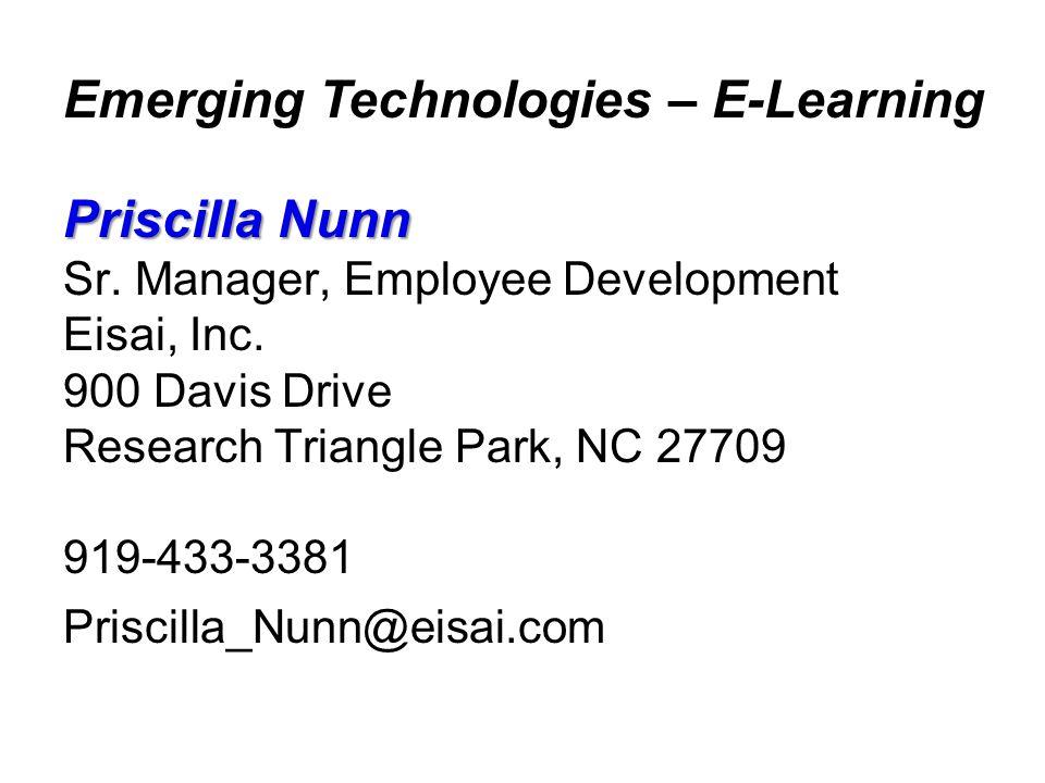 Priscilla Nunn Sr. Manager, Employee Development Eisai, Inc.