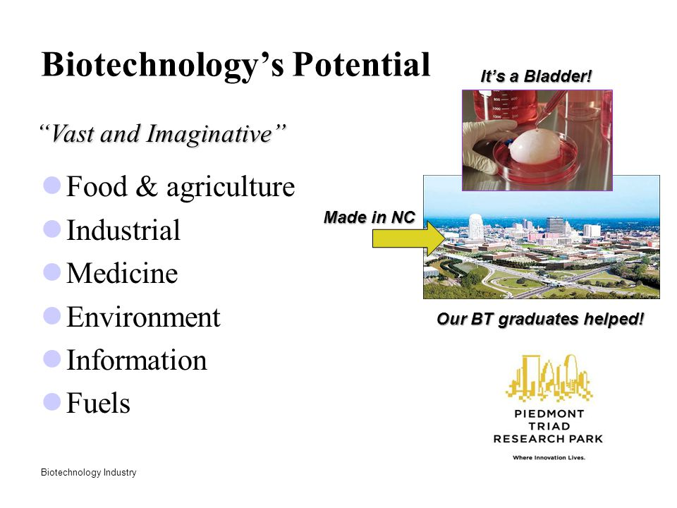 "Biotechnology Industry Biotechnology's Potential Food & agriculture Industrial Medicine Environment Information Fuels ""Vast and Imaginative"" It's a Bl"