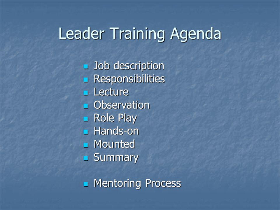 Leader Training Agenda Job description Job description Responsibilities Responsibilities Lecture Lecture Observation Observation Role Play Role Play H