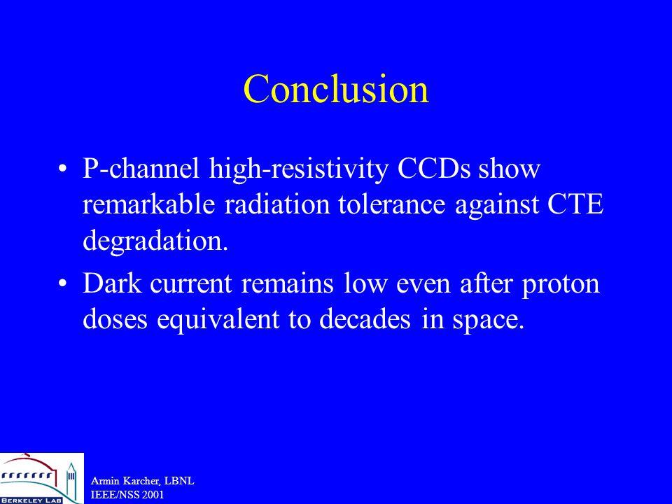 Armin Karcher, LBNL IEEE/NSS 2001 Conclusion P-channel high-resistivity CCDs show remarkable radiation tolerance against CTE degradation.