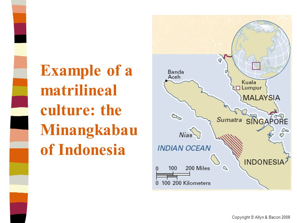 Copyright © Allyn & Bacon 2008 Example of a matrilineal culture: the Minangkabau of Indonesia