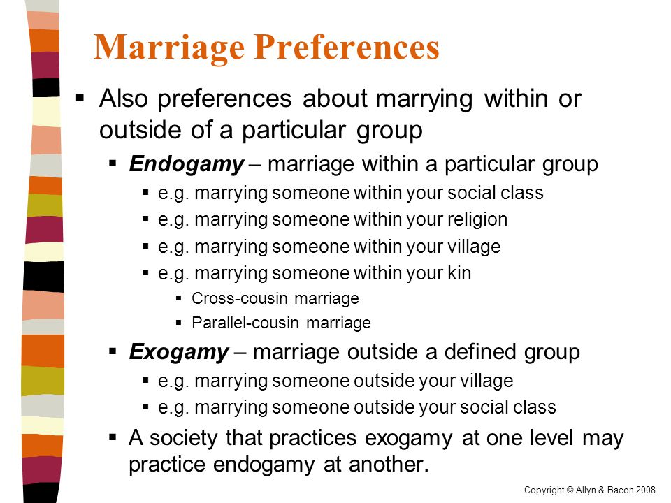 Copyright © Allyn & Bacon 2008 Marriage Preferences  Also preferences about marrying within or outside of a particular group  Endogamy – marriage within a particular group  e.g.