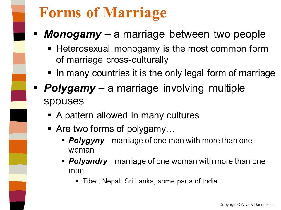 Copyright © Allyn & Bacon 2008 Forms of Marriage  Monogamy – a marriage between two people  Heterosexual monogamy is the most common form of marriage cross-culturally  In many countries it is the only legal form of marriage  Polygamy – a marriage involving multiple spouses  A pattern allowed in many cultures  Are two forms of polygamy…  Polygyny – marriage of one man with more than one woman  Polyandry – marriage of one woman with more than one man  Tibet, Nepal, Sri Lanka, some parts of India