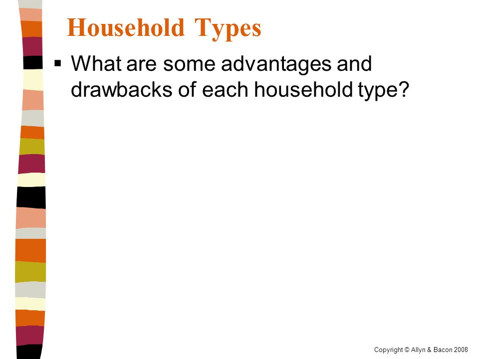 Copyright © Allyn & Bacon 2008 Household Types  What are some advantages and drawbacks of each household type