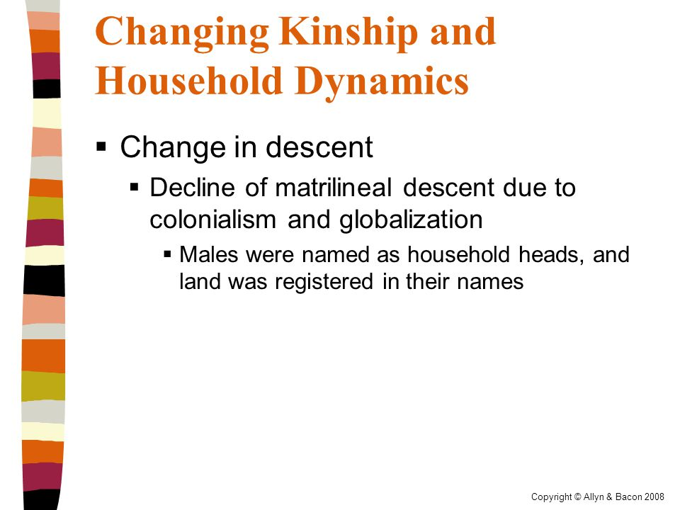 Copyright © Allyn & Bacon 2008 Changing Kinship and Household Dynamics  Change in descent  Decline of matrilineal descent due to colonialism and globalization  Males were named as household heads, and land was registered in their names