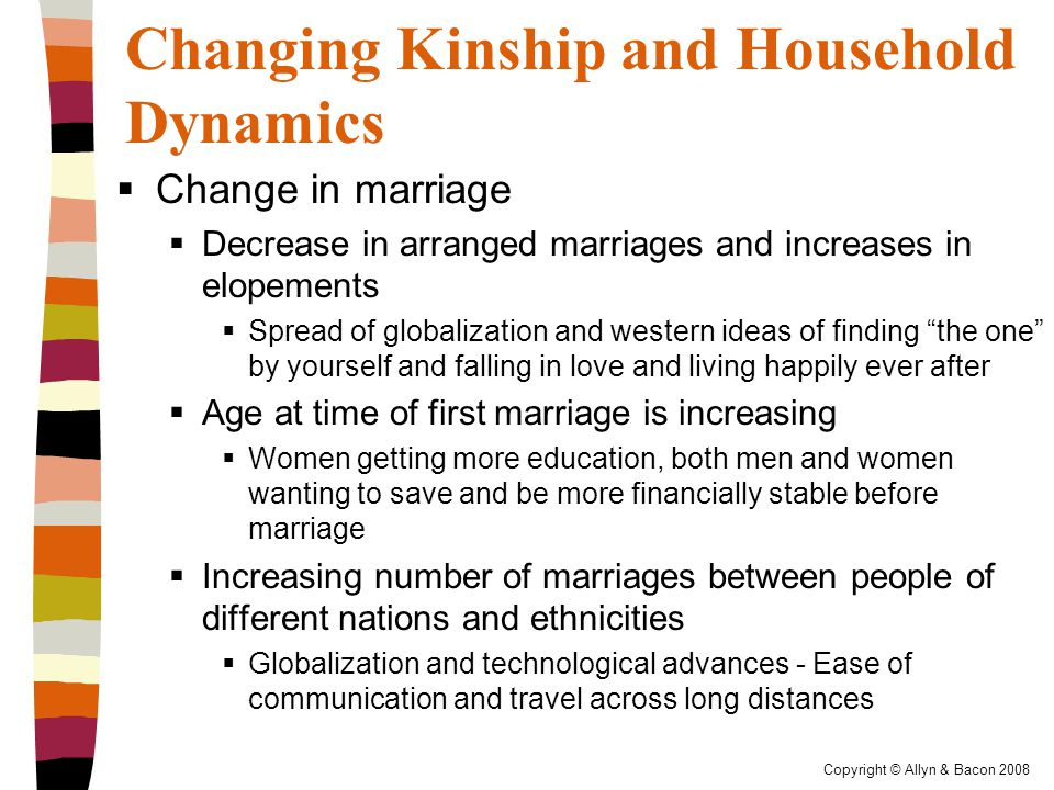 Copyright © Allyn & Bacon 2008 Changing Kinship and Household Dynamics  Change in marriage  Decrease in arranged marriages and increases in elopements  Spread of globalization and western ideas of finding the one by yourself and falling in love and living happily ever after  Age at time of first marriage is increasing  Women getting more education, both men and women wanting to save and be more financially stable before marriage  Increasing number of marriages between people of different nations and ethnicities  Globalization and technological advances - Ease of communication and travel across long distances