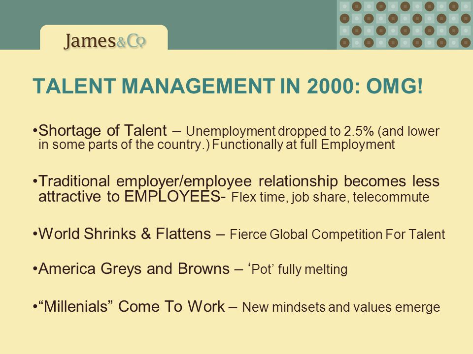 TALENT MANAGEMENT IN 2000: OMG! Shortage of Talent – Unemployment dropped to 2.5% (and lower in some parts of the country.) Functionally at full Emplo