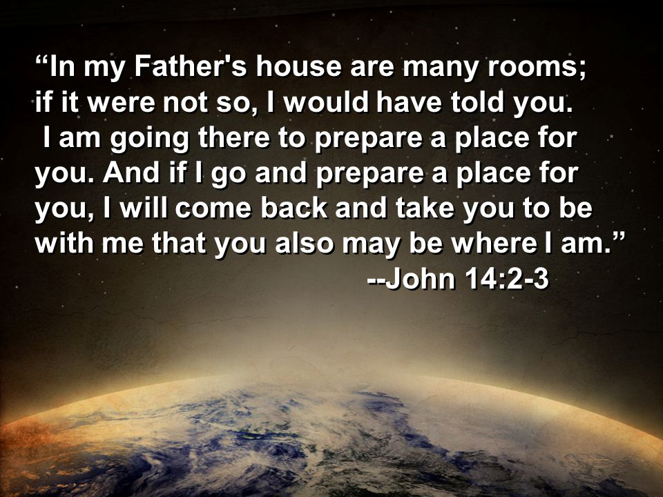 In my Father s house are many rooms; if it were not so, I would have told you.