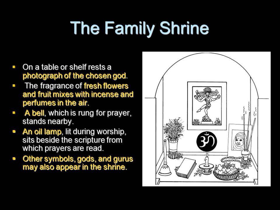 The Family Shrine  On a table or shelf rests a photograph of the chosen god.