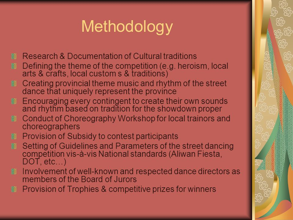 Research & Documentation of Cultural traditions Defining the theme of the competition (e.g.
