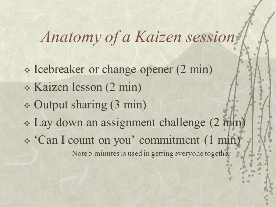 Anatomy of a Kaizen session  Icebreaker or change opener (2 min)  Kaizen lesson (2 min)  Output sharing (3 min)  Lay down an assignment challenge (2 min)  'Can I count on you' commitment (1 min) –Note 5 minutes is used in getting everyone together