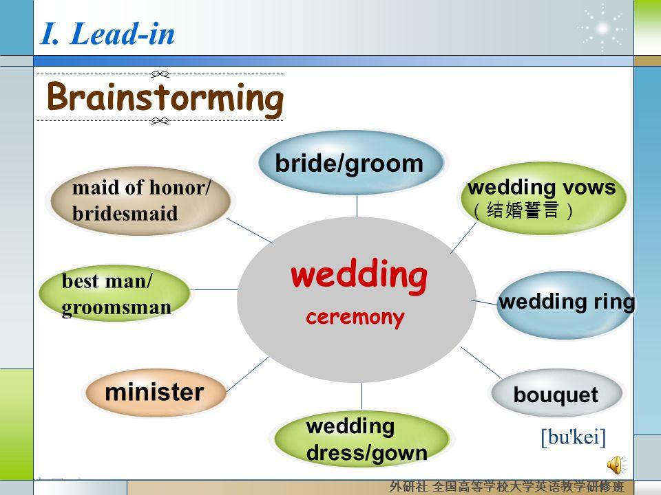 I. Lead-in wedding best man/ groomsman wedding ring bride/groom minister bouquet wedding dress/gown Brainstorming maid of honor/ bridesmaid ceremony [