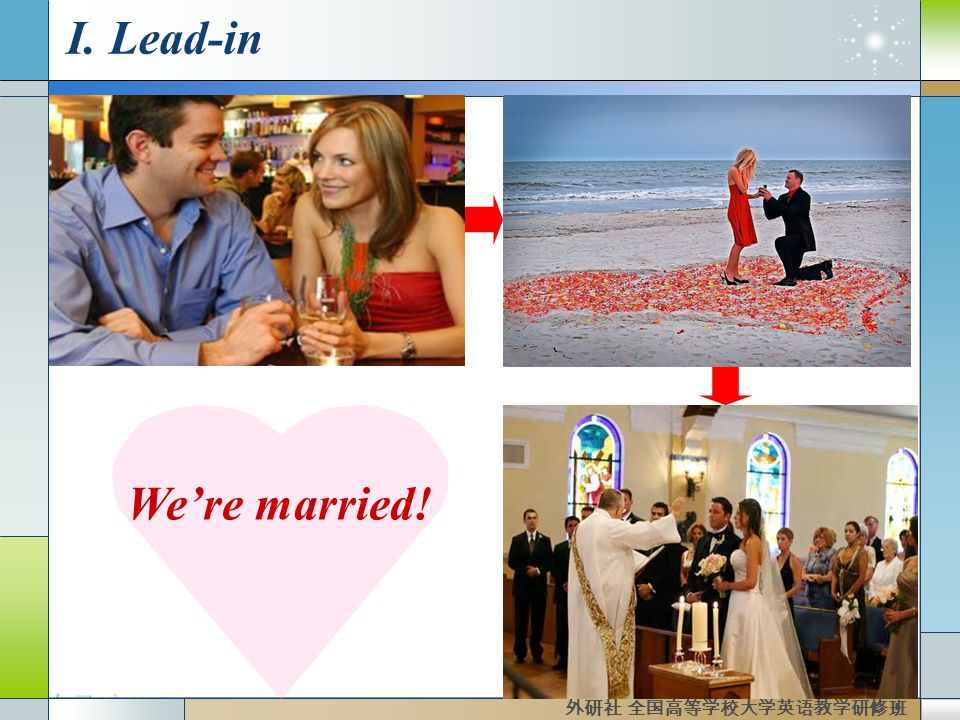 I. Lead-in We're married! 外研社 全国高等学校大学英语教学研修班