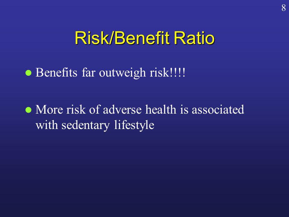 Risk/Benefit Ratio Benefits far outweigh risk!!!.